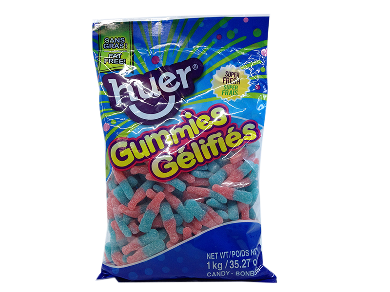 Sour Bubble Gum Bottles 1kg Bag