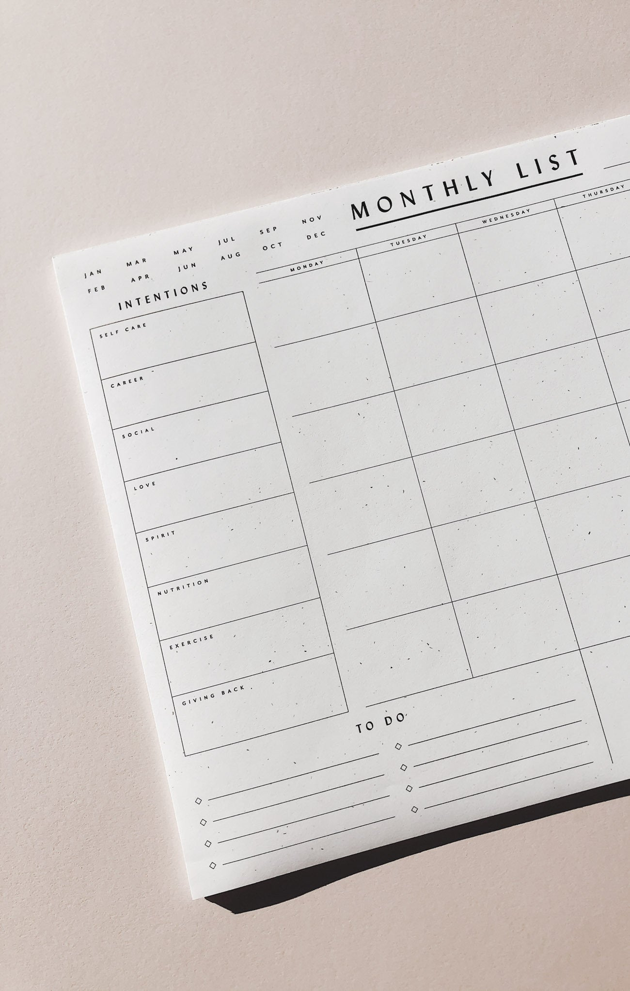 Paper Goods Monthly List Pad by Wilde House Paper Multi