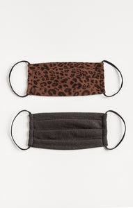 AccessoriesLeopard Reusable Face Mask (2-Pack) French Roast/ Black