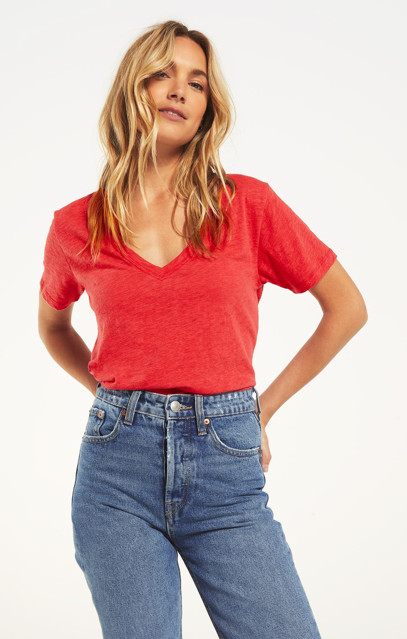 Tops Airy Slub Short Sleeve V-Neck Tee Cherry Tomato