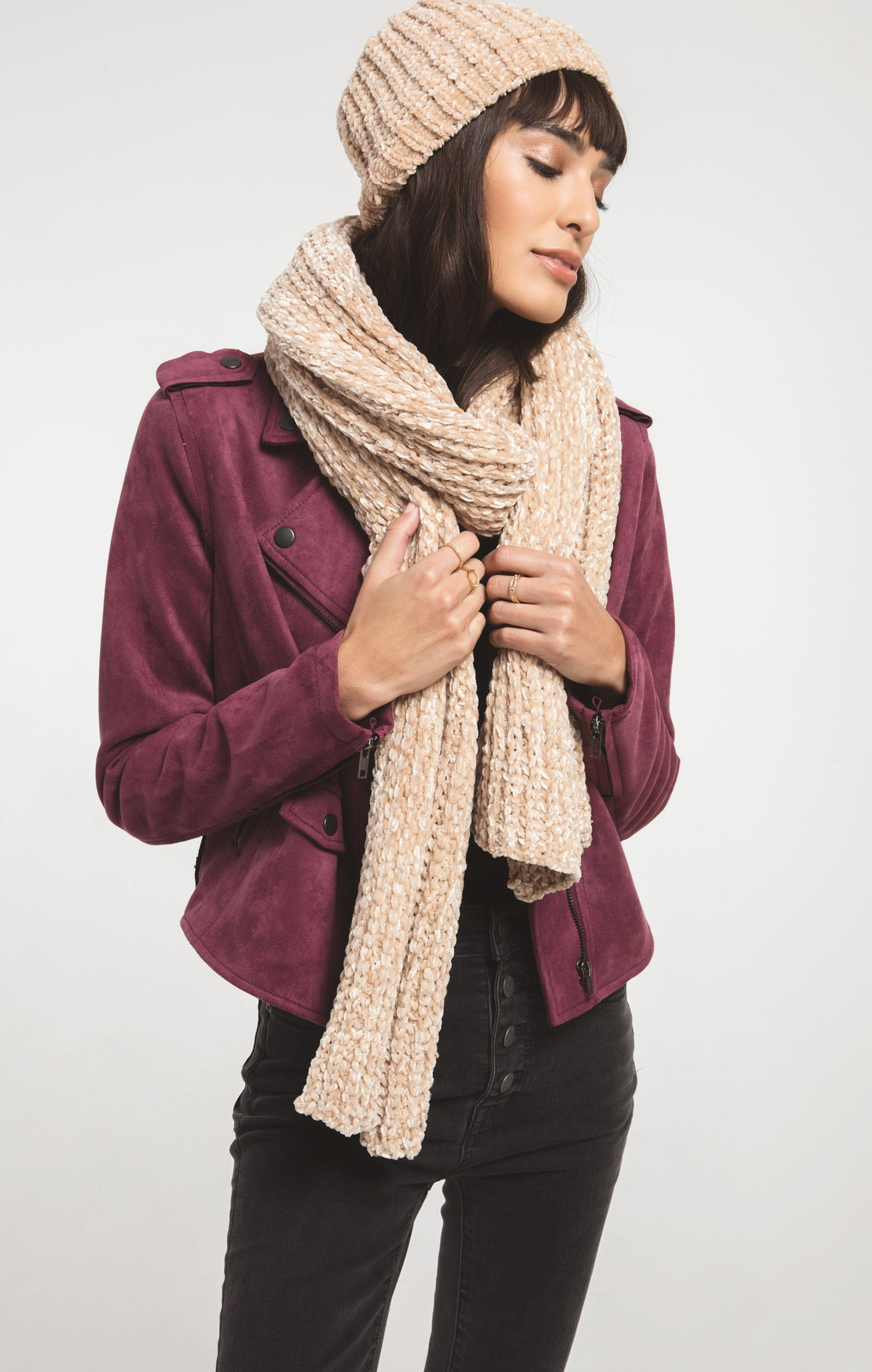 Accessories Jeanie Oblong Knitted Scarf By Rag Poets Antique Cream