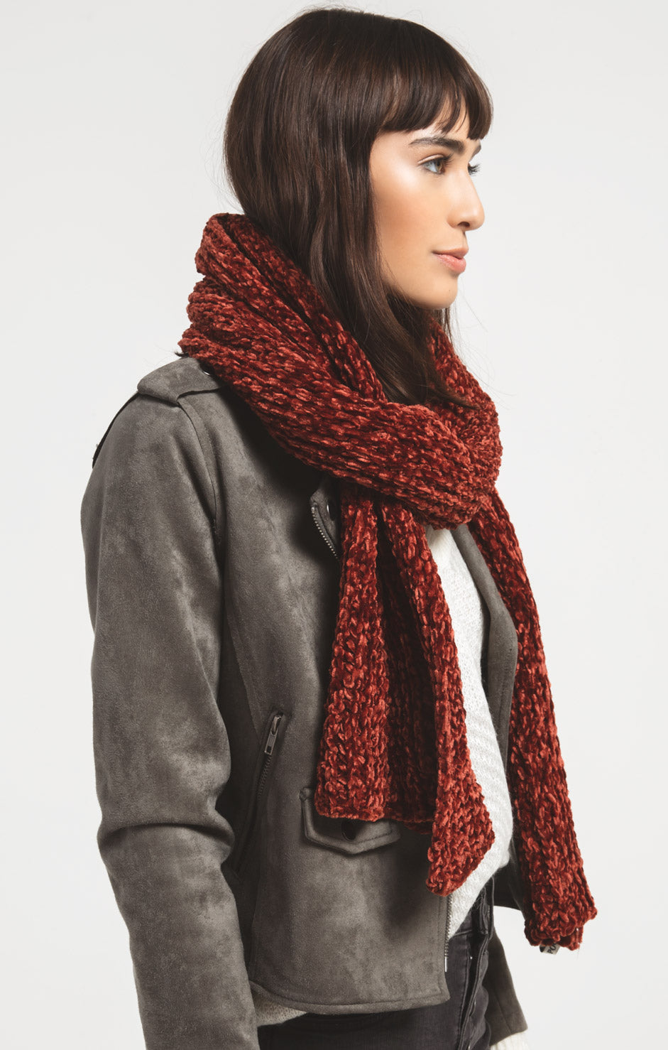 Accessories Jeanie Oblong Knitted Scarf By Rag Poets Fired Brick