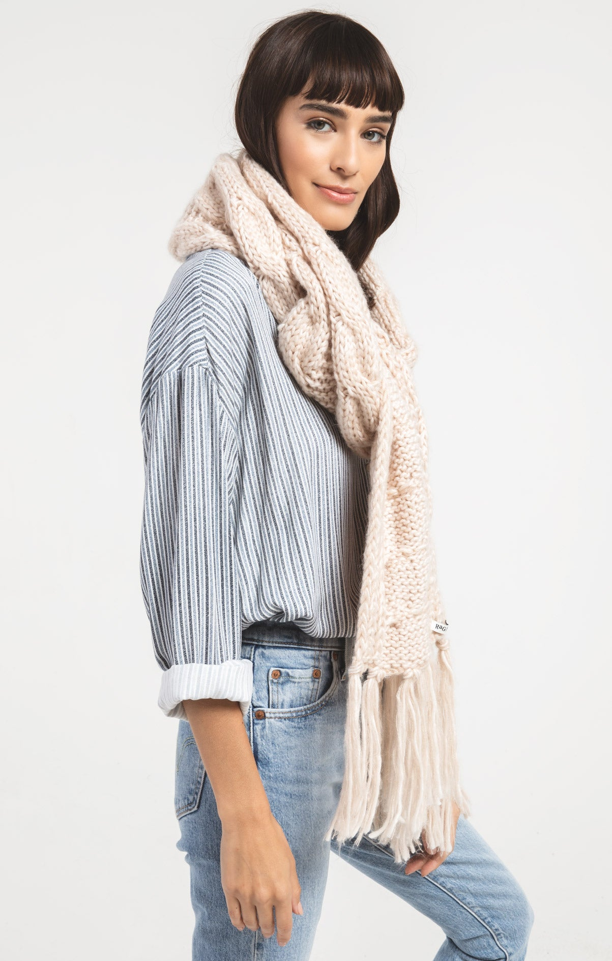 Accessories Jen Fringe Cable Knit Scarf By Rag Poets Antique Cream