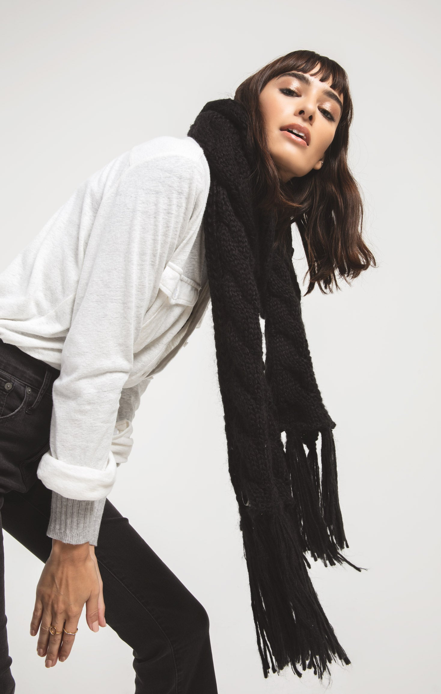 Accessories Jen Fringe Cable Knit Scarf By Rag Poets Black