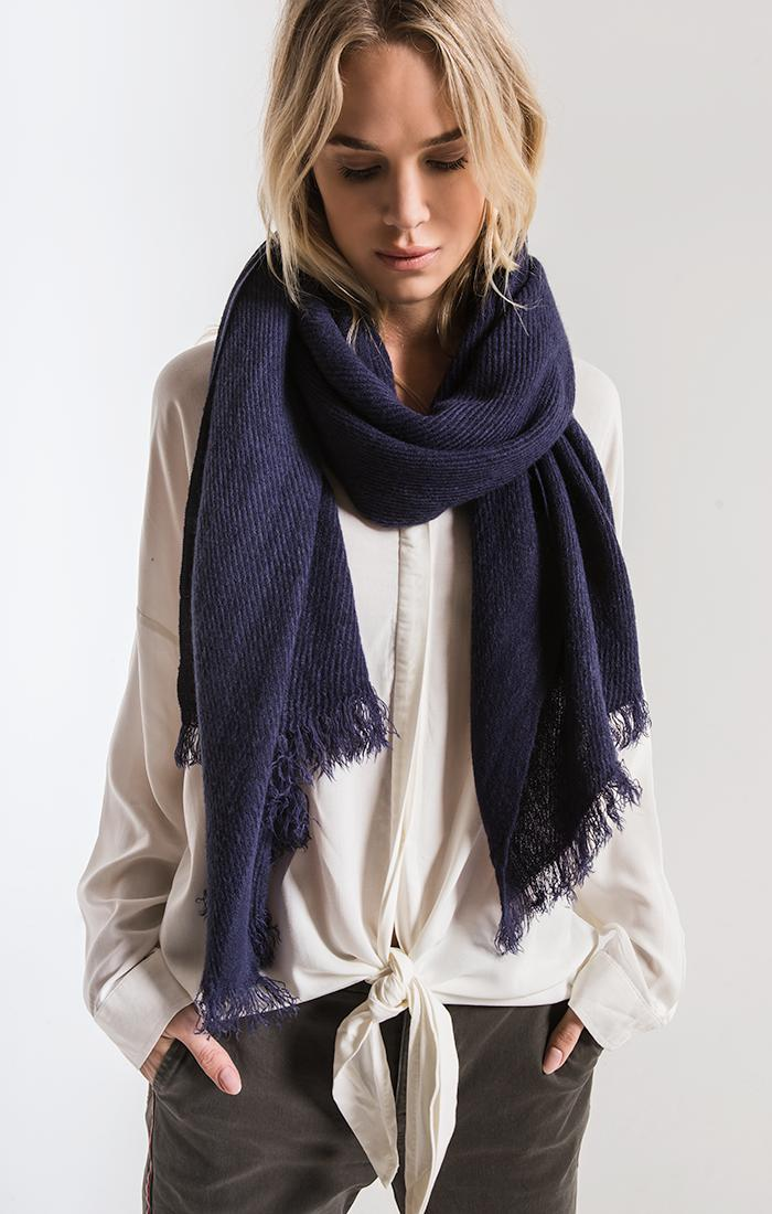 Accessories Amici Frayed Scarf By Rag Poets Navy