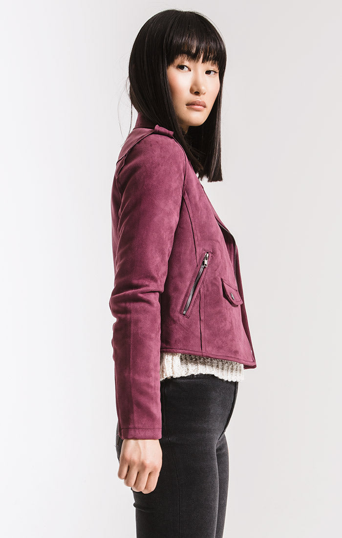 Jackets Everit Biker Jacket By Rag Poets Plum Wine