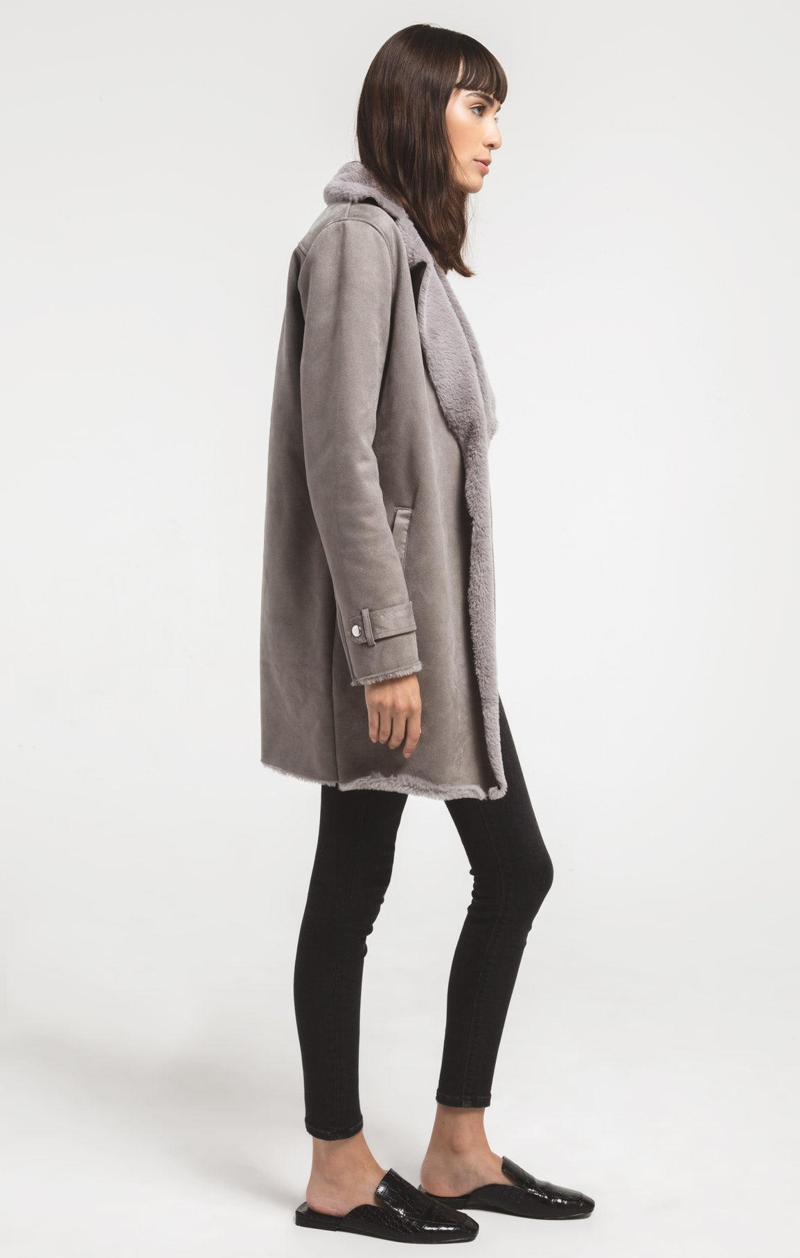 Coats Sterling Faux Suede Coat By Rag Poets Steeple Grey