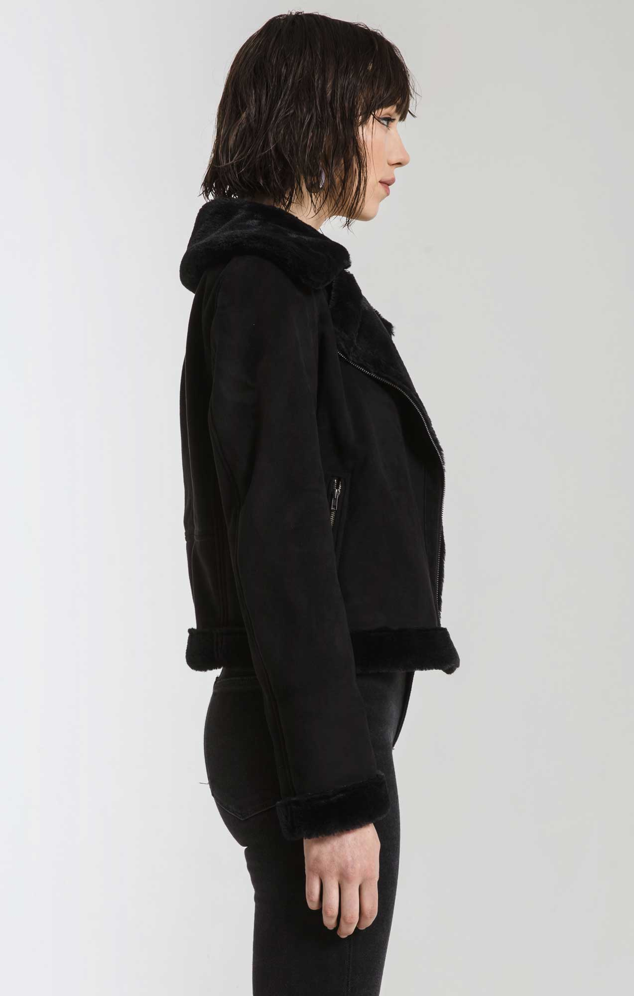 Jackets Eva Faux Suede with Fur Moto Jacket By Rag Poets Black