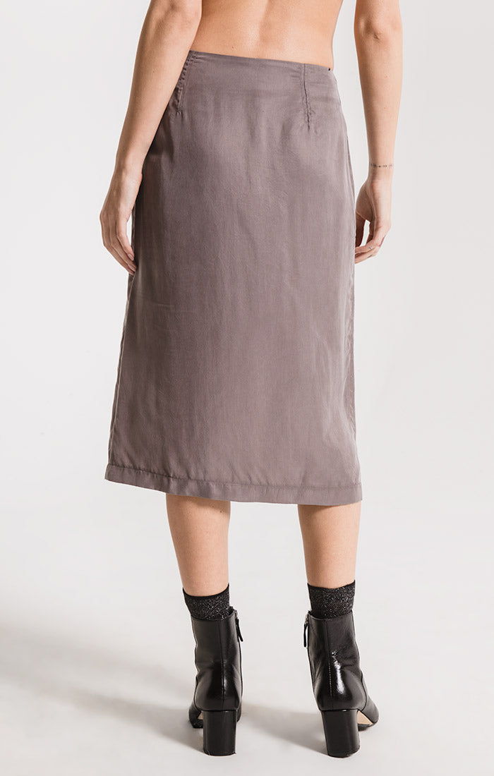 Skirts Calais Button Front Skirt By Rag Poets Castor Grey