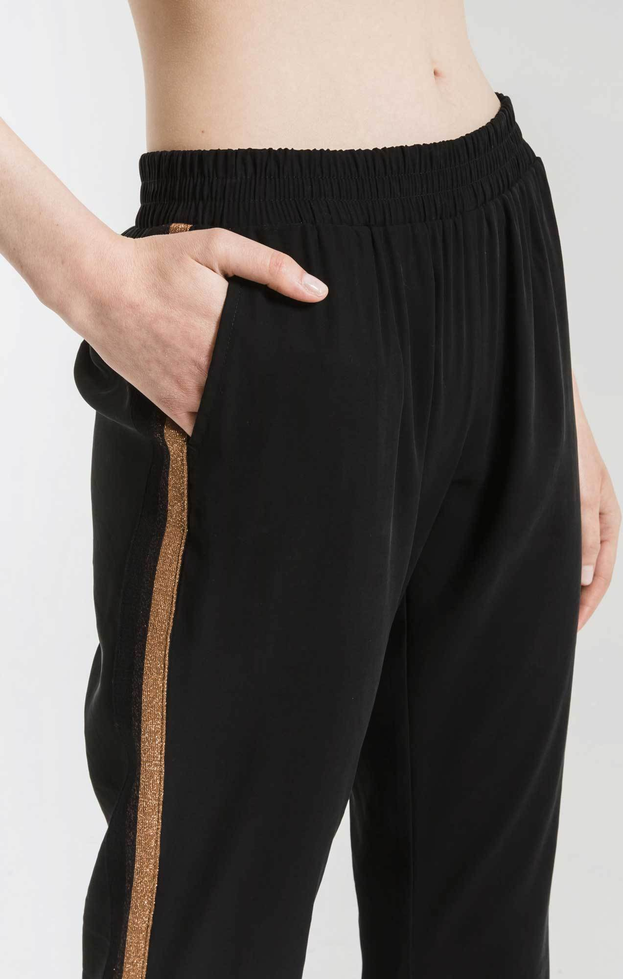 Pants Luna Tencel Striped Jogger Pant By Rag Poets Black