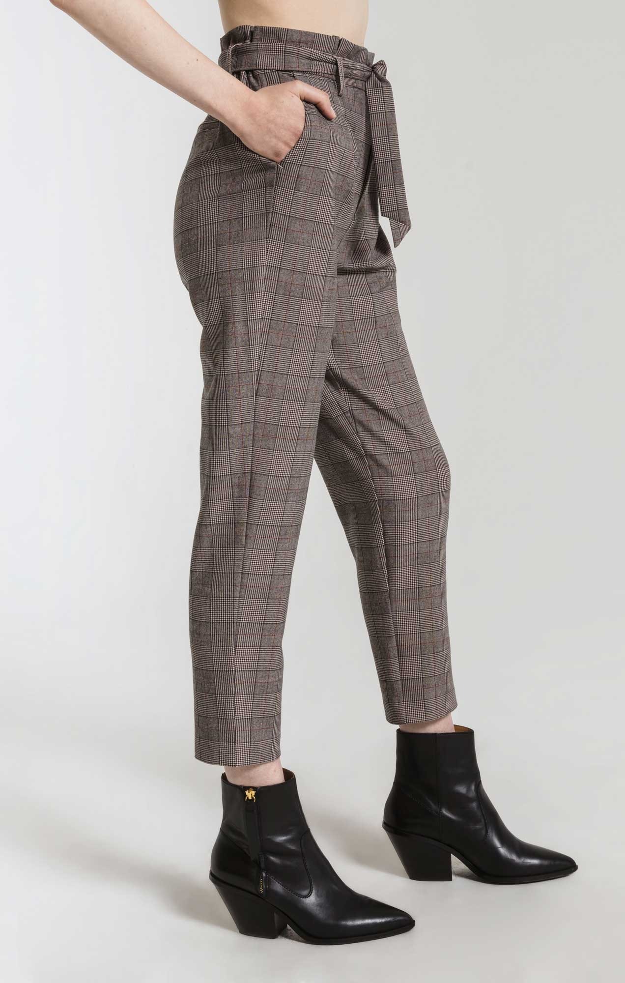 Pants Regina Plaid Cropped Pant By Rag Poets Cafe Creme