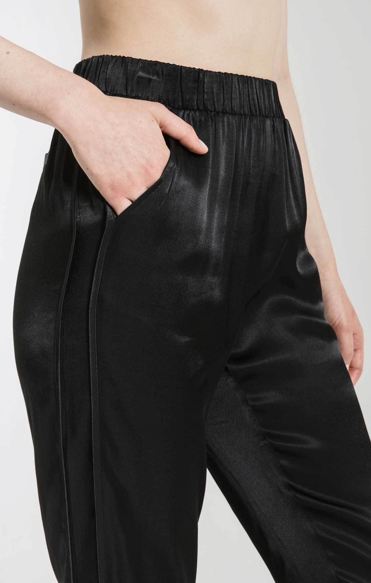 Pants Kiara Satin Slip-On Pant By Rag Poets Black