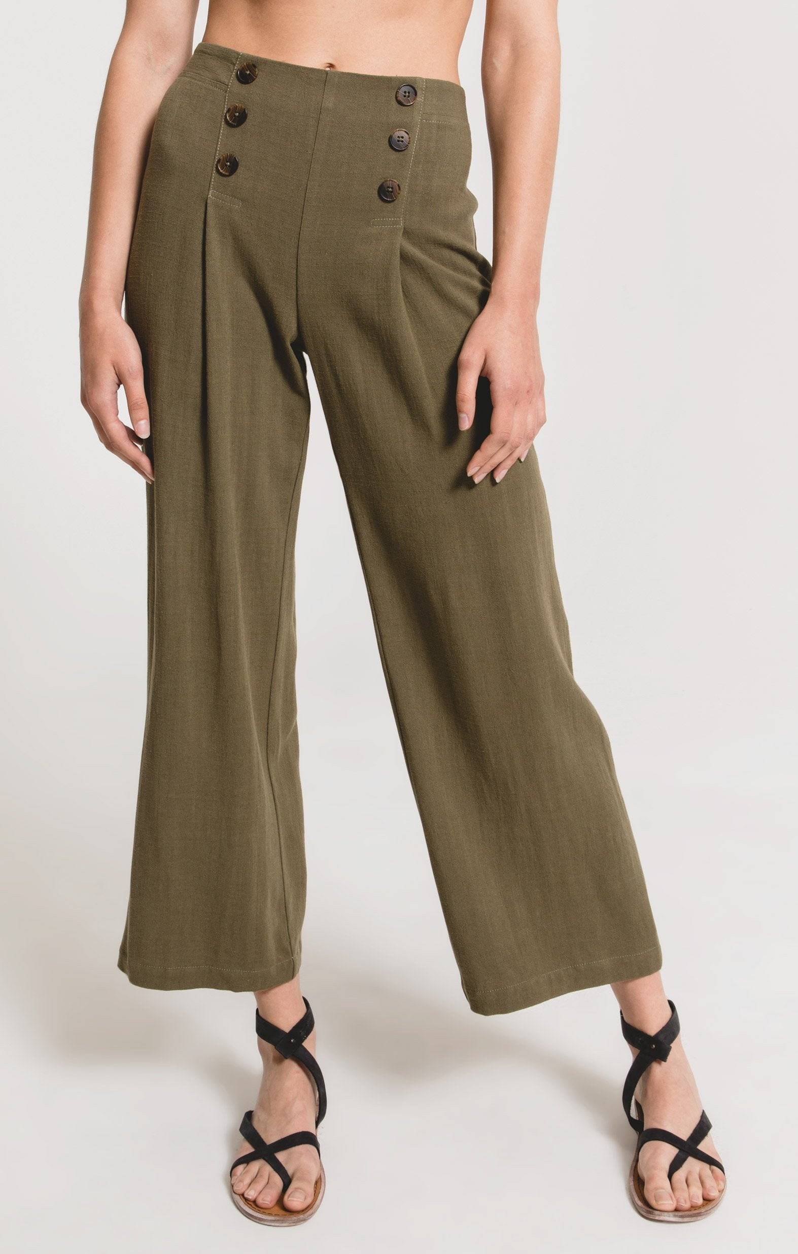 Pants San Rocco Solid Pant by Rag Poets Dusky Green