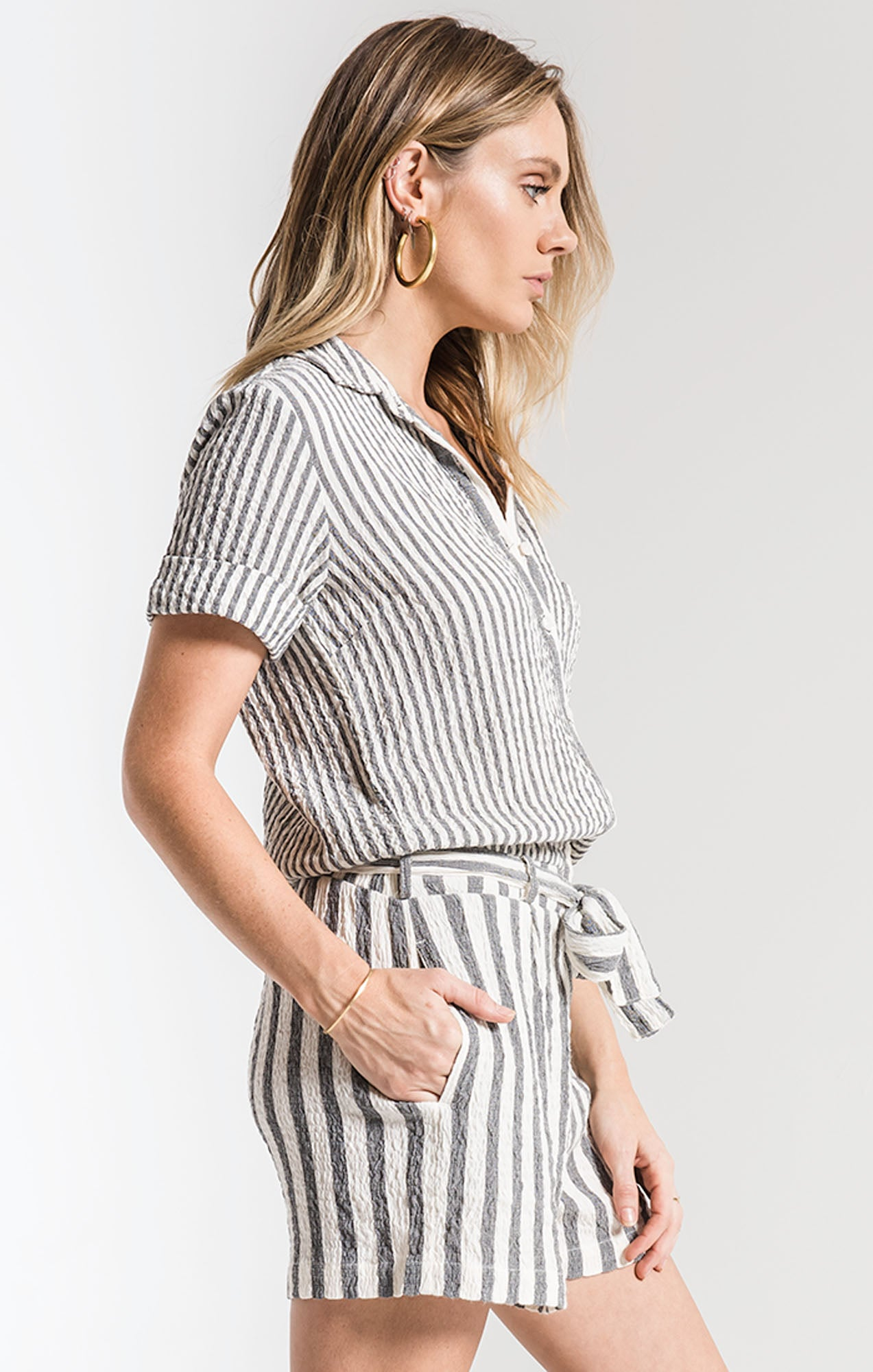 Shorts Vezelas Striped Romper By Rag Poets Black/White