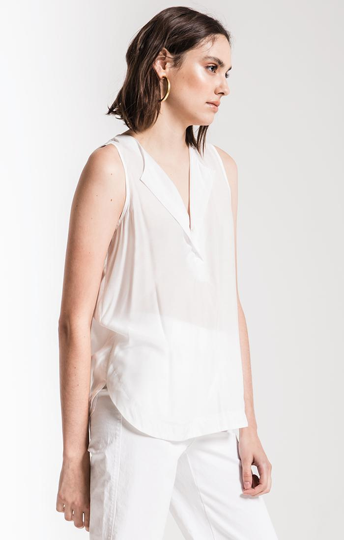 Tops Niort Silk Tank Top By Rag Poets Soft White