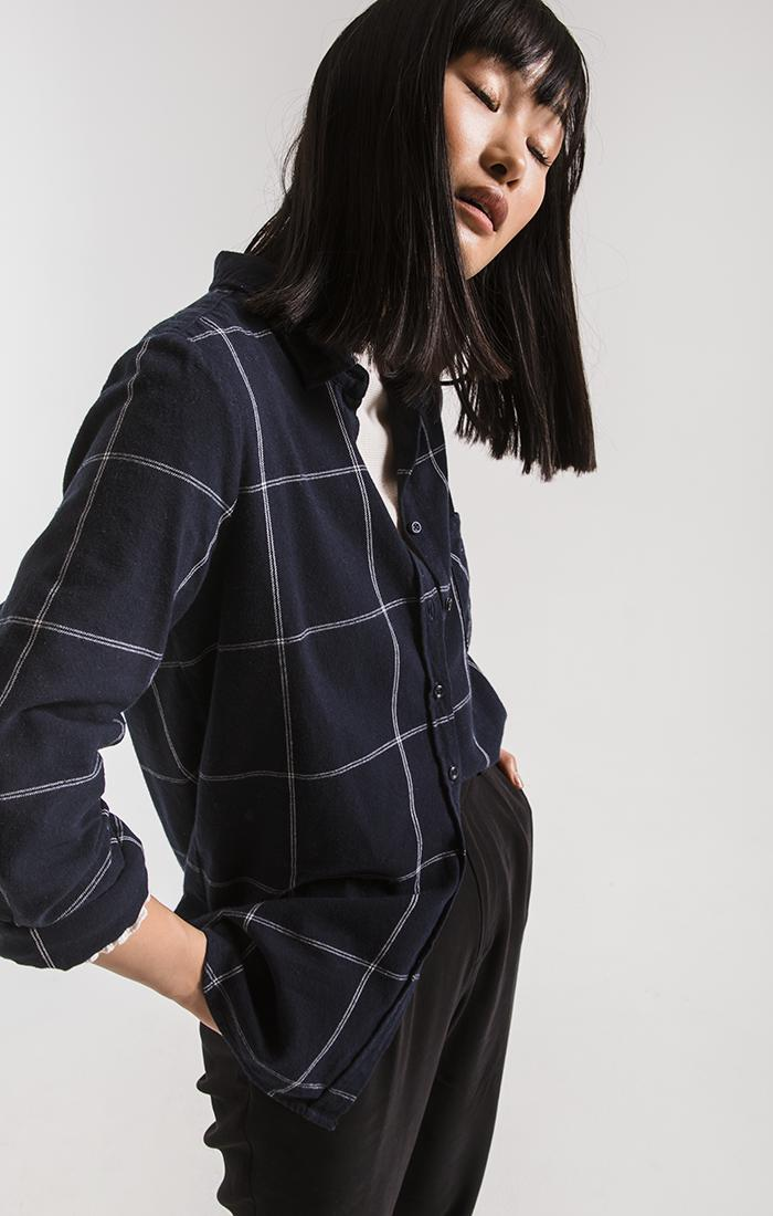 Tops Kane-Decraw Button-Up Shirt By Rag Poets Night Sky Blue
