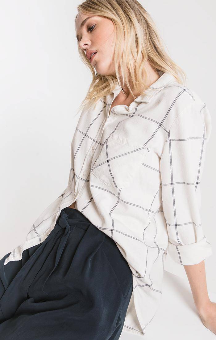 Tops Kane-Decraw Button-Up Shirt By Rag Poets Winter White