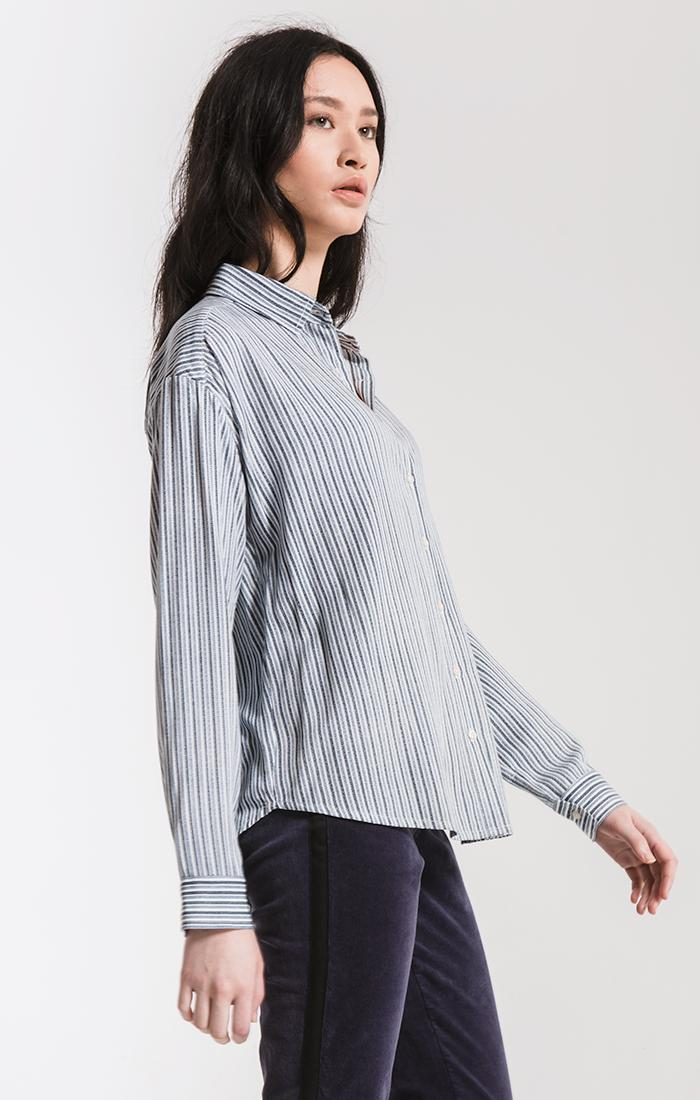 Tops Montrose Button-Up Shirt By Rag Poets Sea Blue