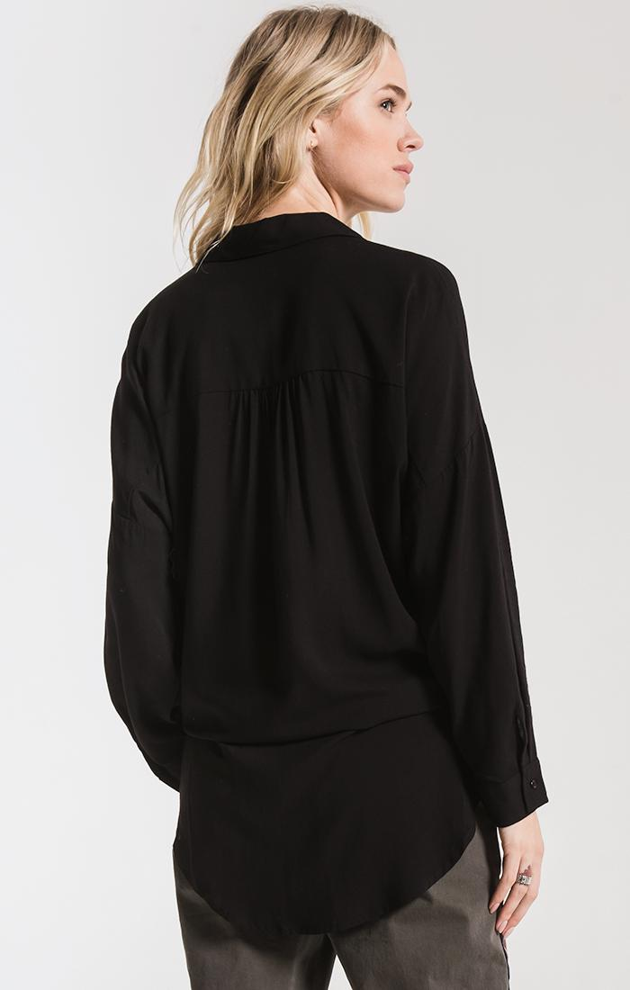 Tops Ainslie Tie-Front Shirt By Rag Poets Black