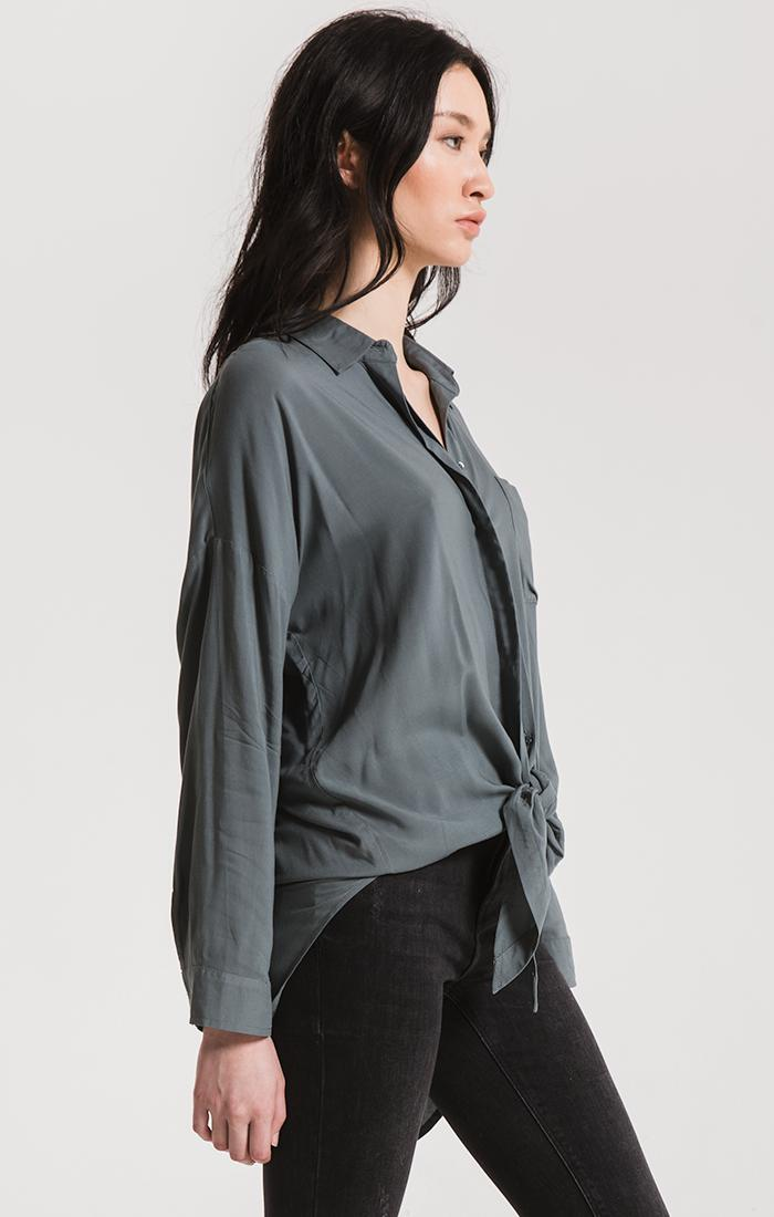 Tops Ainslie Tie-Front Shirt By Rag Poets Stormy Weather