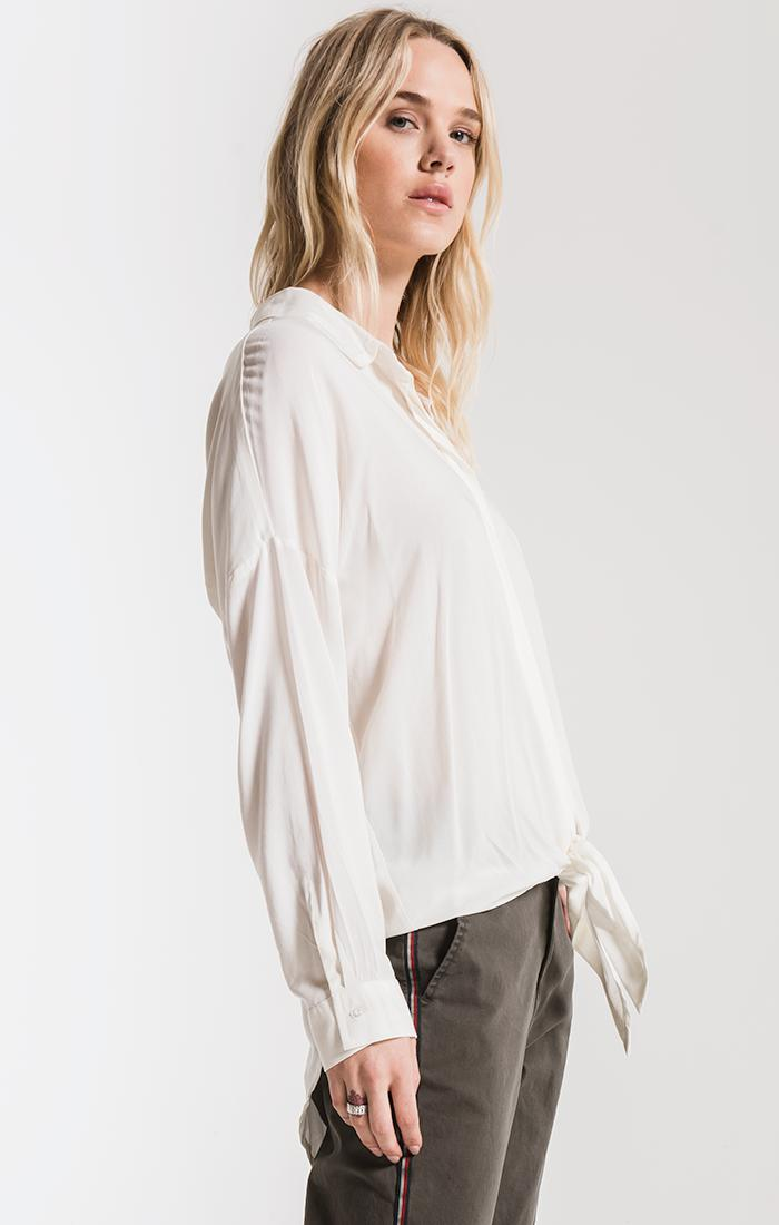 Tops Ainslie Tie-Front Shirt By Rag Poets Winter White