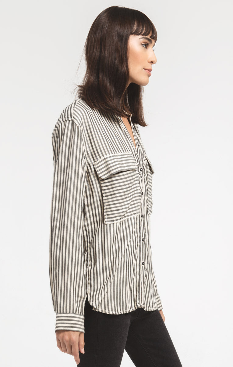 Tops Lucali Striped Shirt By Rag Poets Black