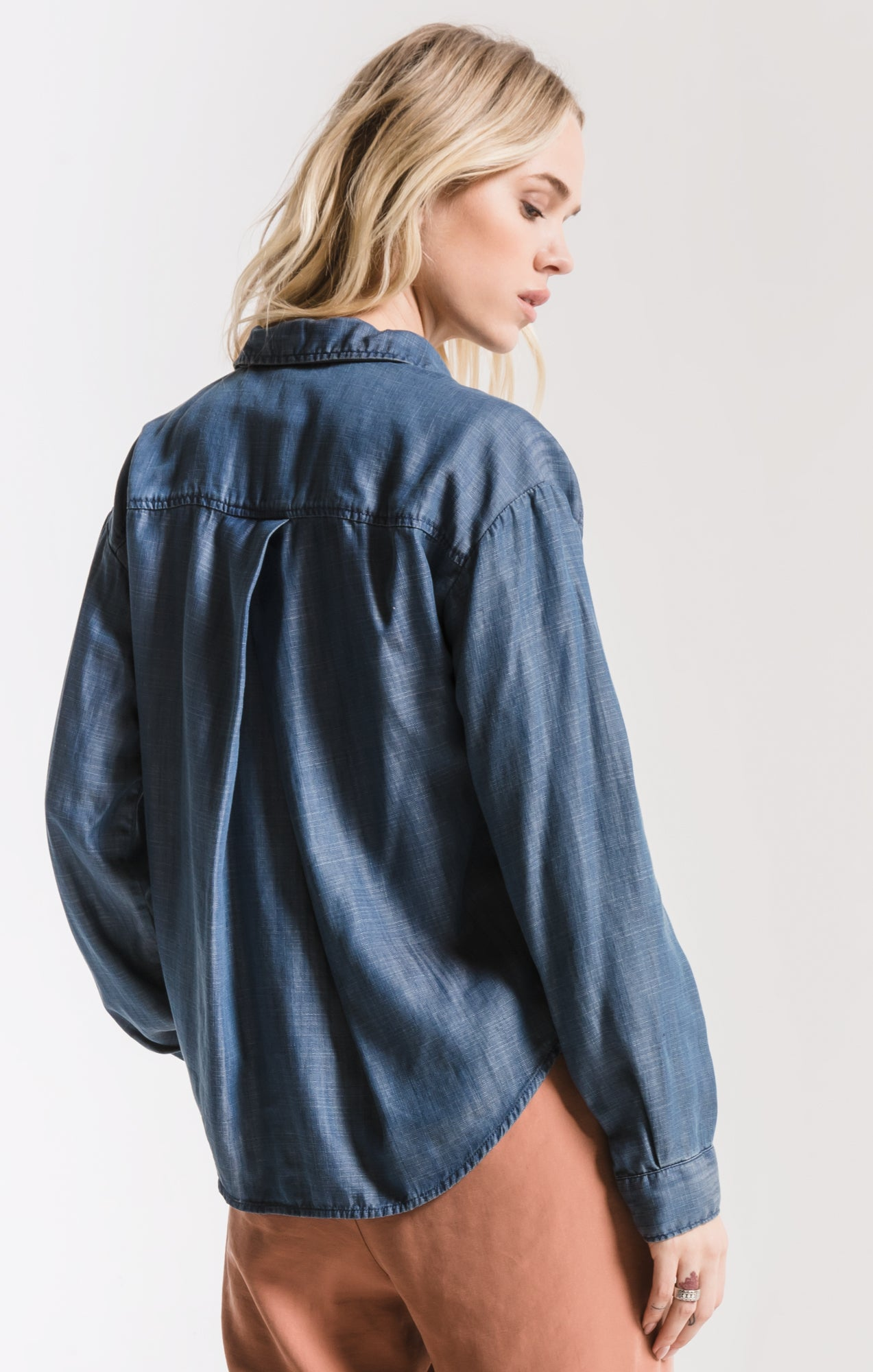 Tops Hawthorne Tencel Shirt By Rag Poets Blue