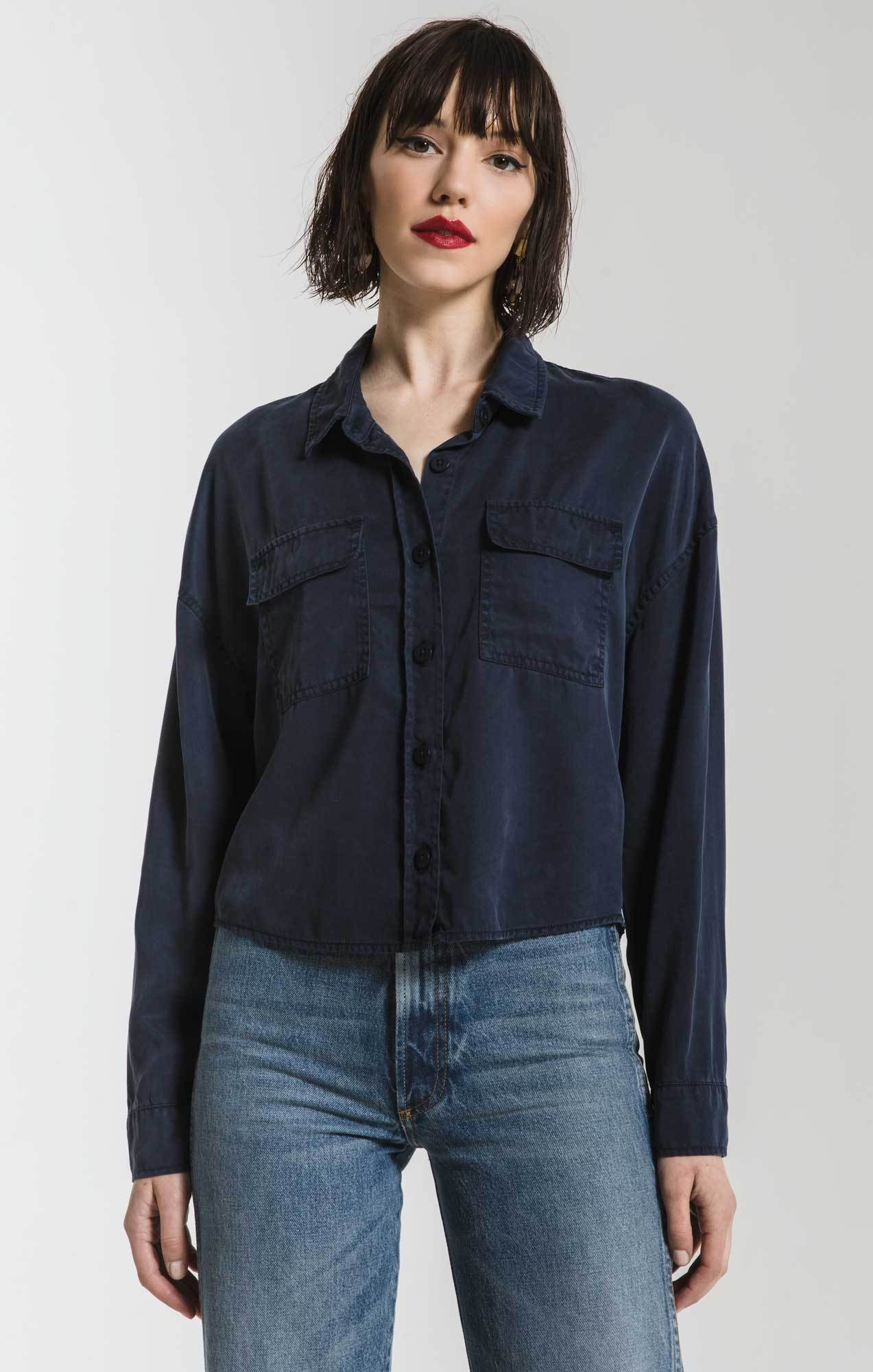 Tops Amal Cropped Button-Up Shirt By Rag Poets Navy Blazer