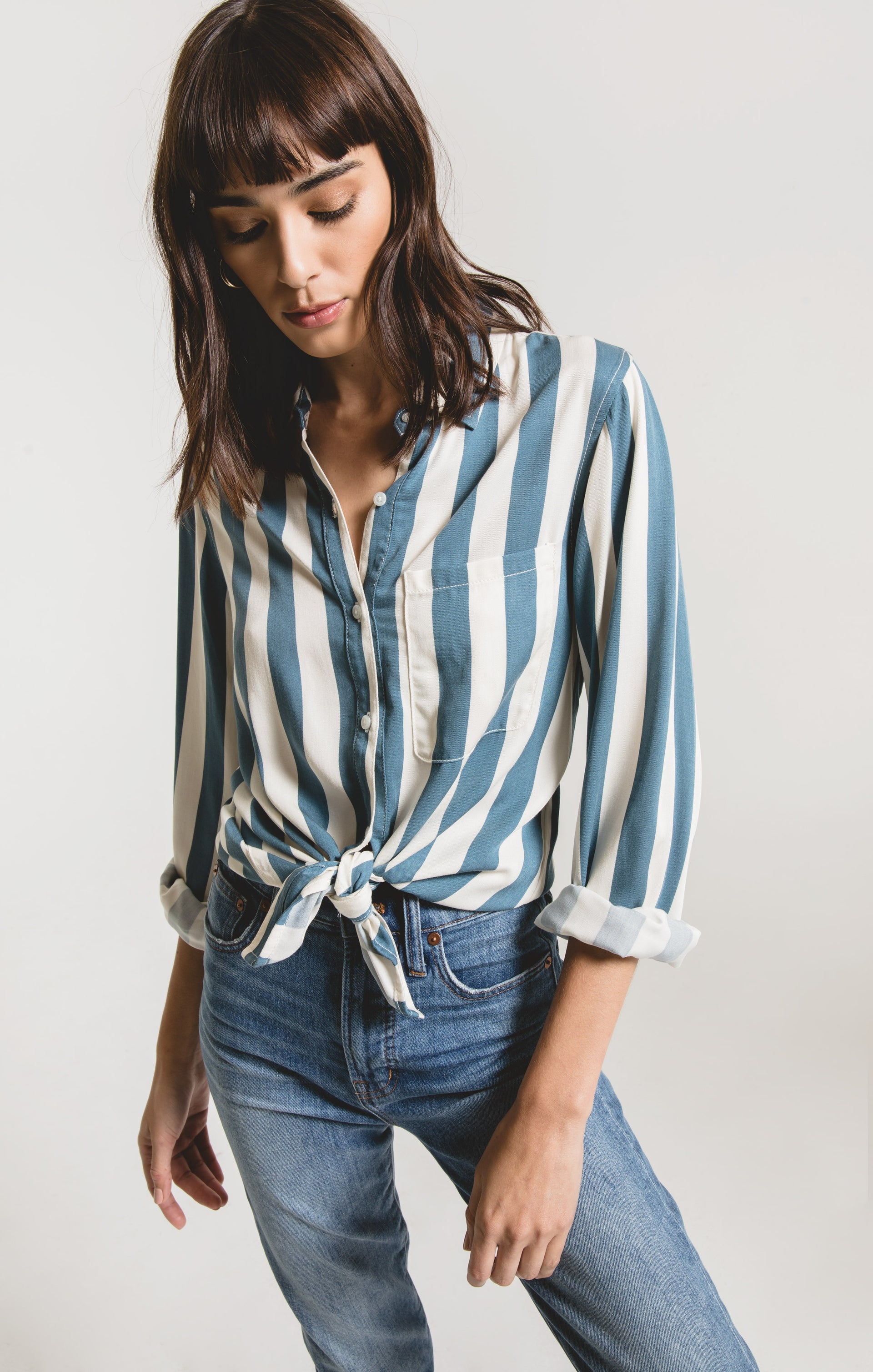 Tops Florence Striped Shirt by Rag Poets Indian Teal