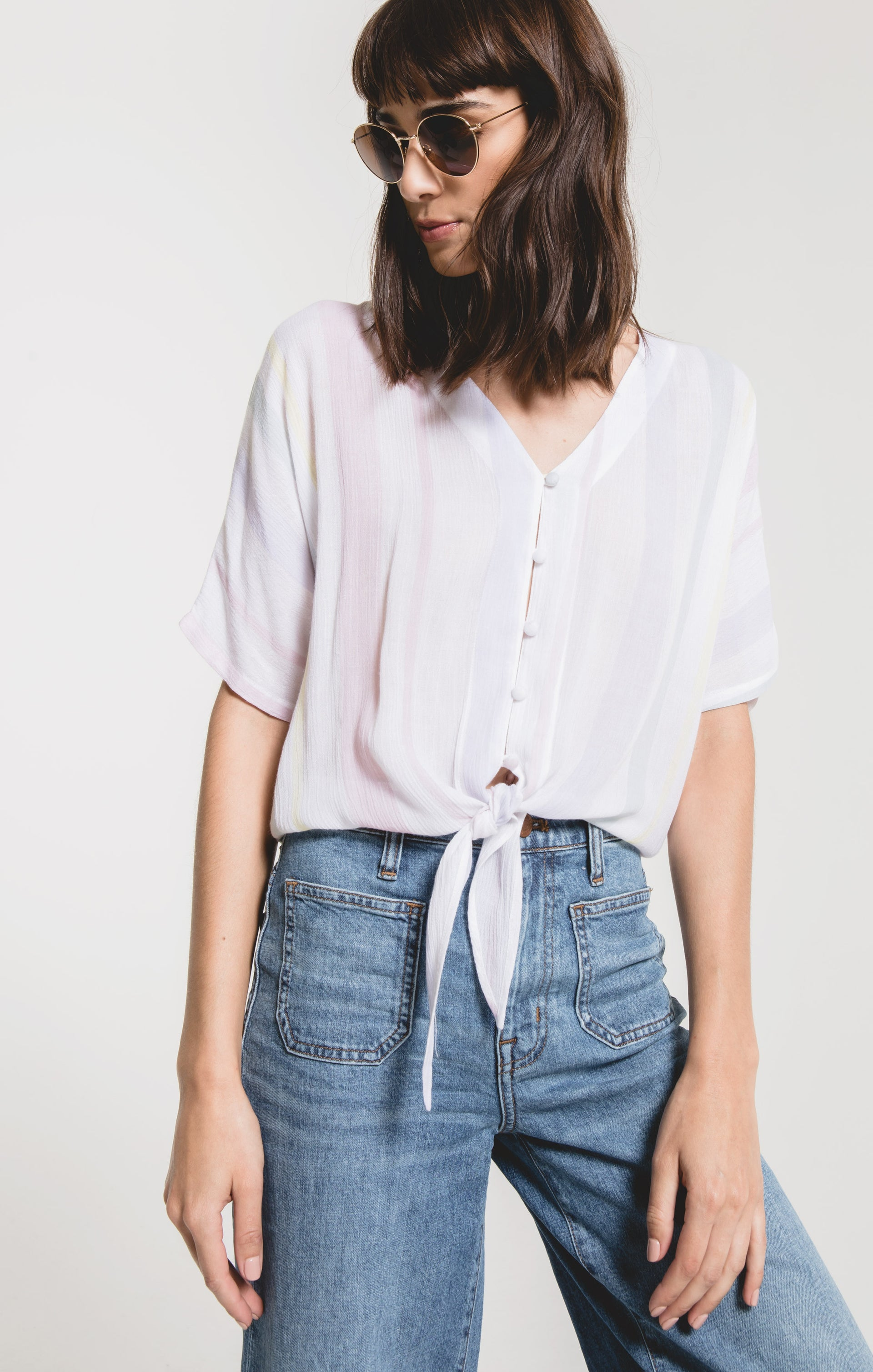 Tops Roma Stripe Top by Rag Poets Soft Blue