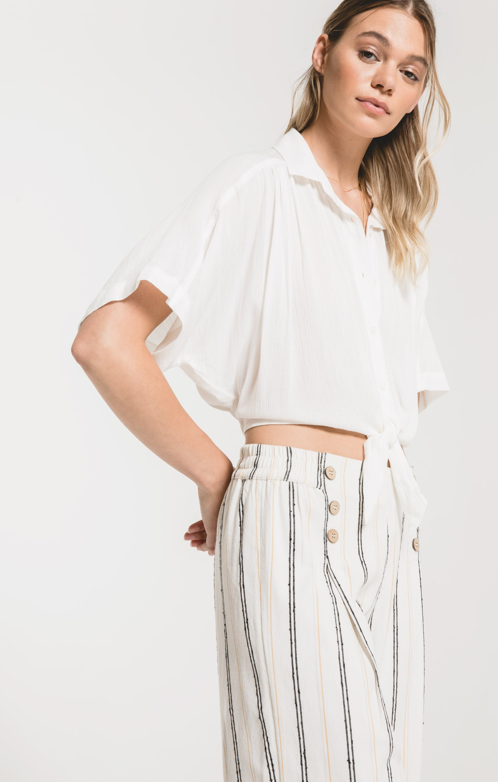Tops Minori Shirt by Rag Poets White