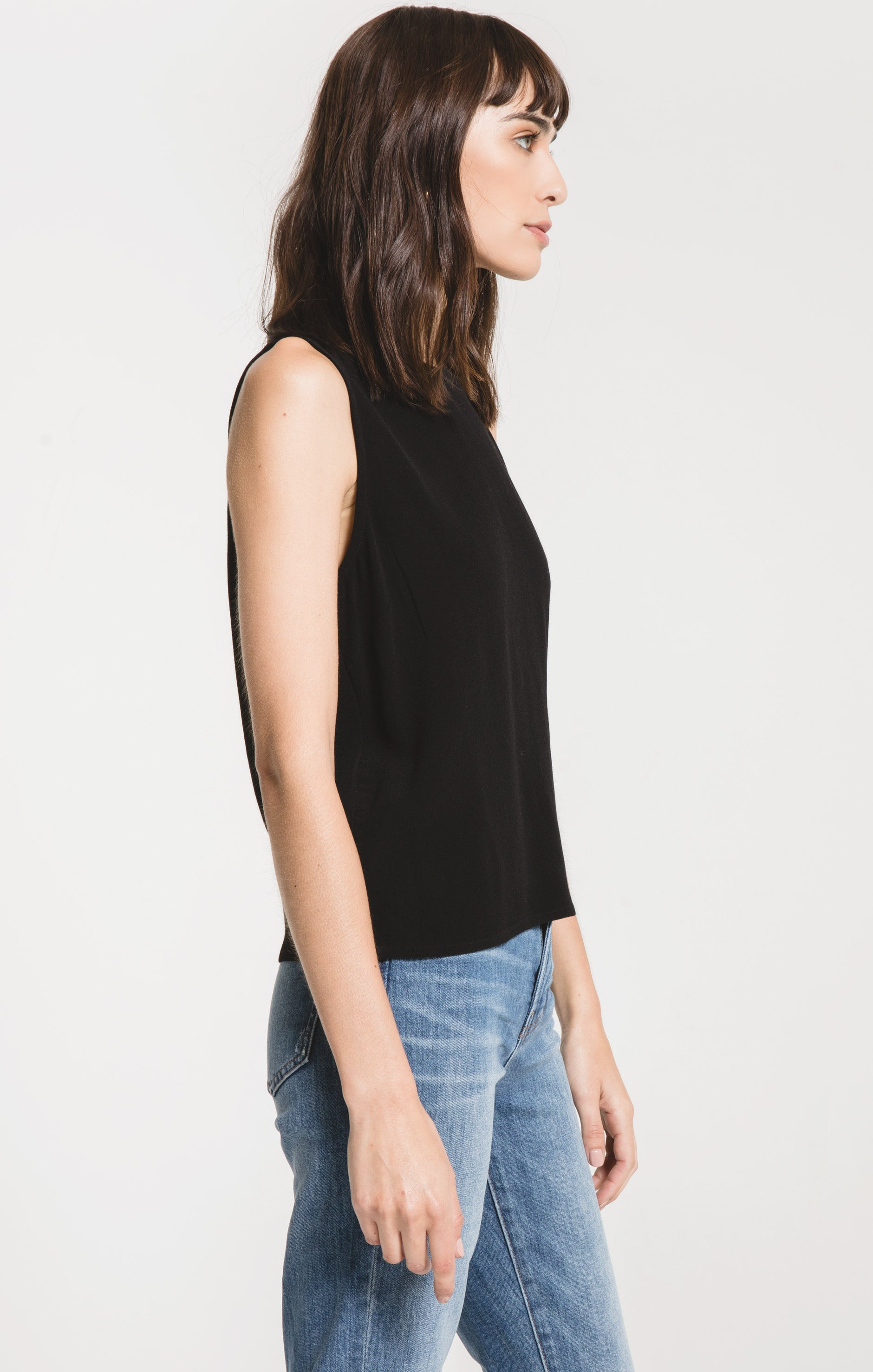 Tops Lannio Solid Tank by Rag Poets Black