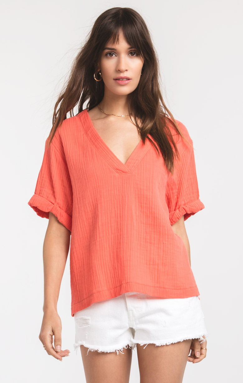 Tops Raya Top by Rag Poets Deep Sea Coral