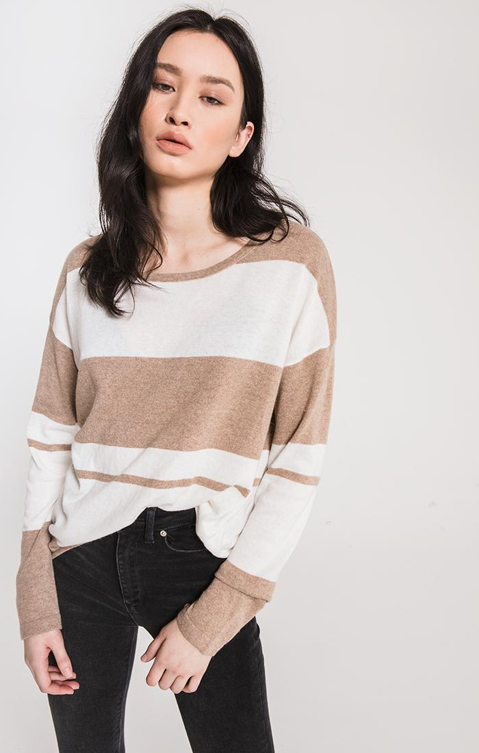 Sweaters Genoa Striped Sweater By Rag Poets Brownstone