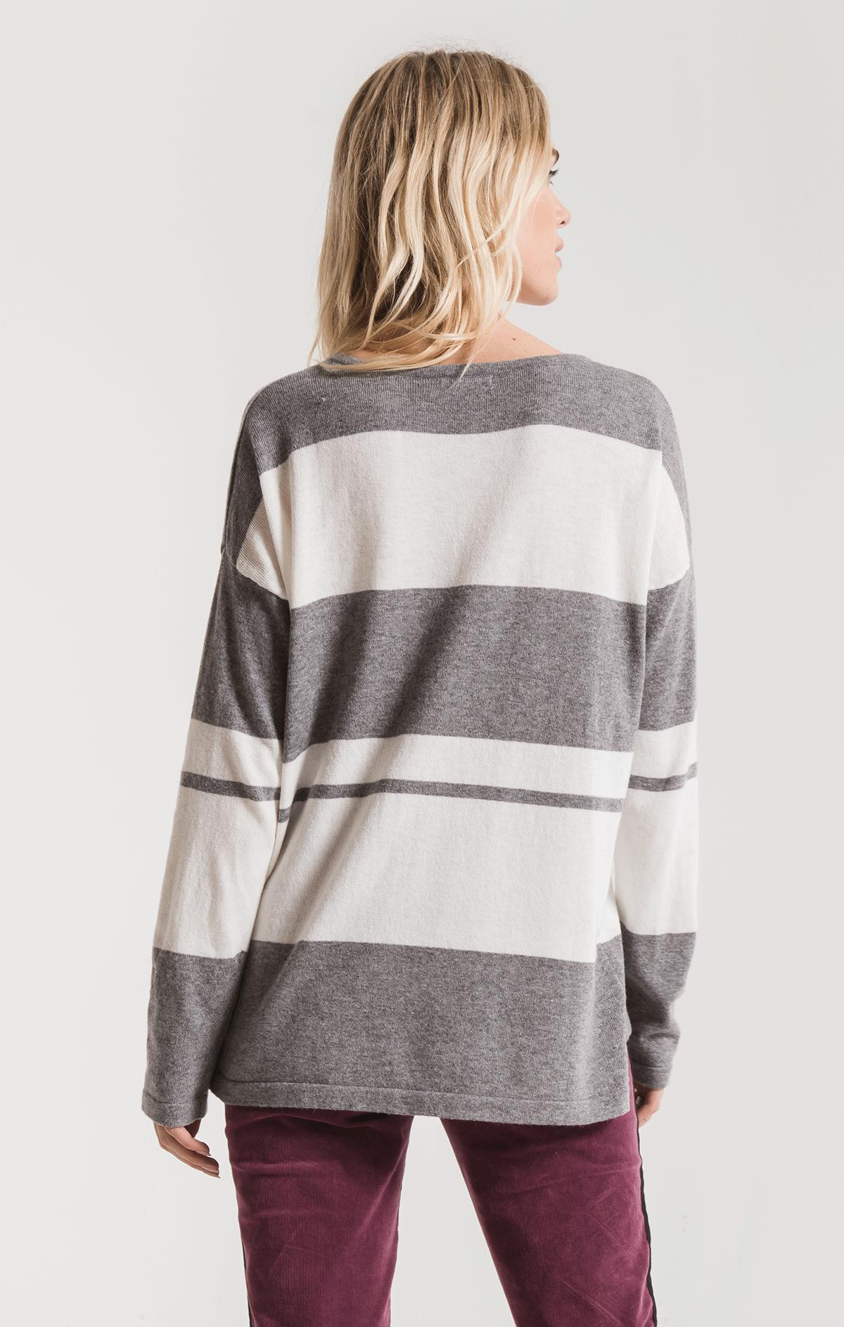 Sweaters Genoa Striped Sweater By Rag Poets Heather Grey
