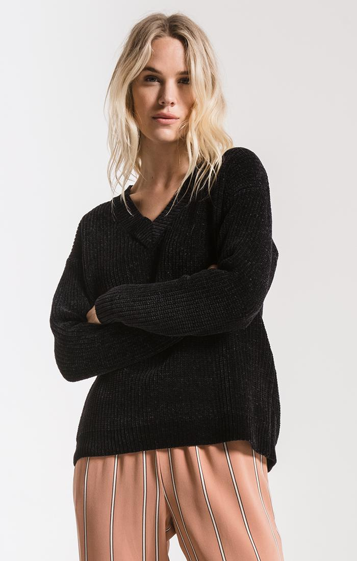 Sweaters Clara Chenille Sweater By Rag Poets Black