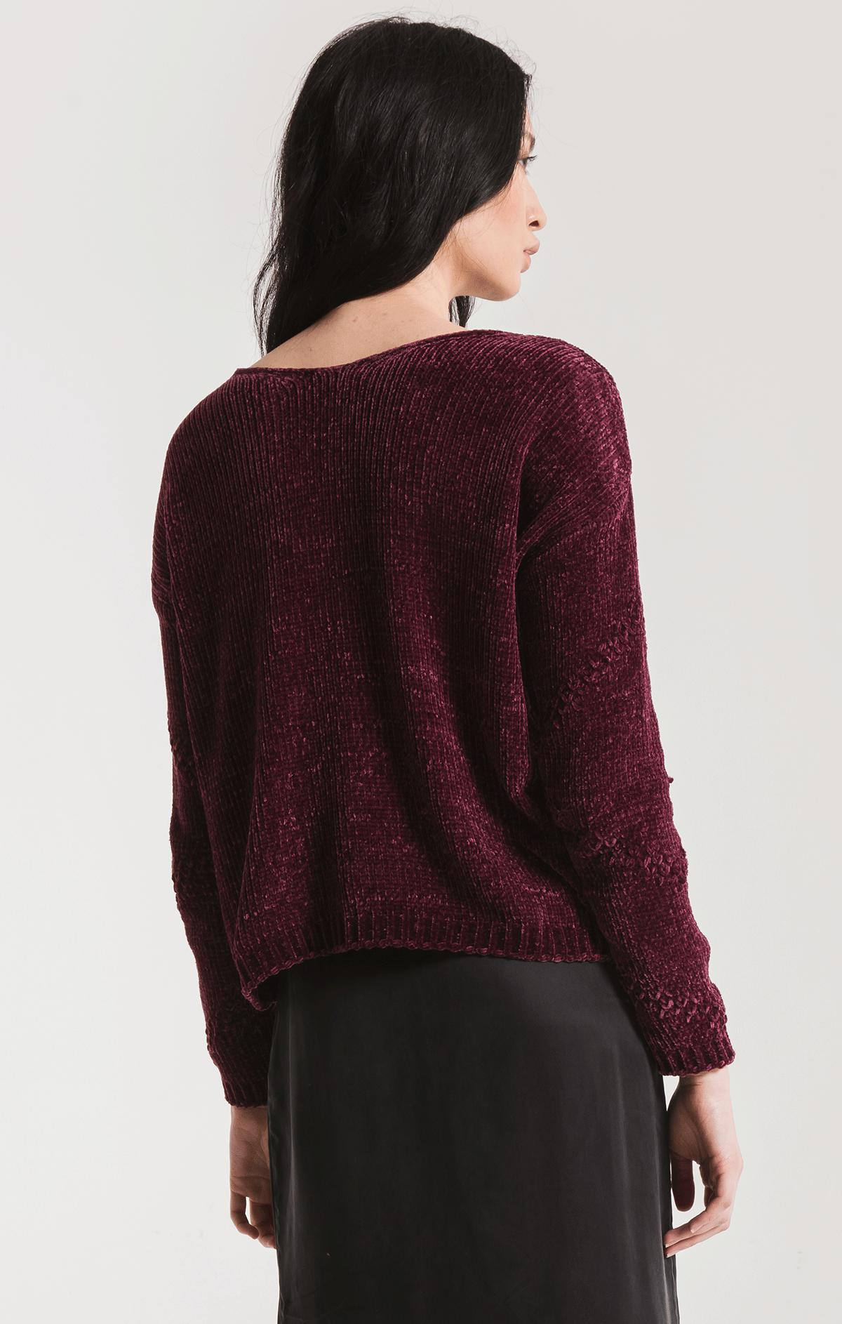 Sweaters Bococa Chenille Sweater By Rag Poets Plum Wine