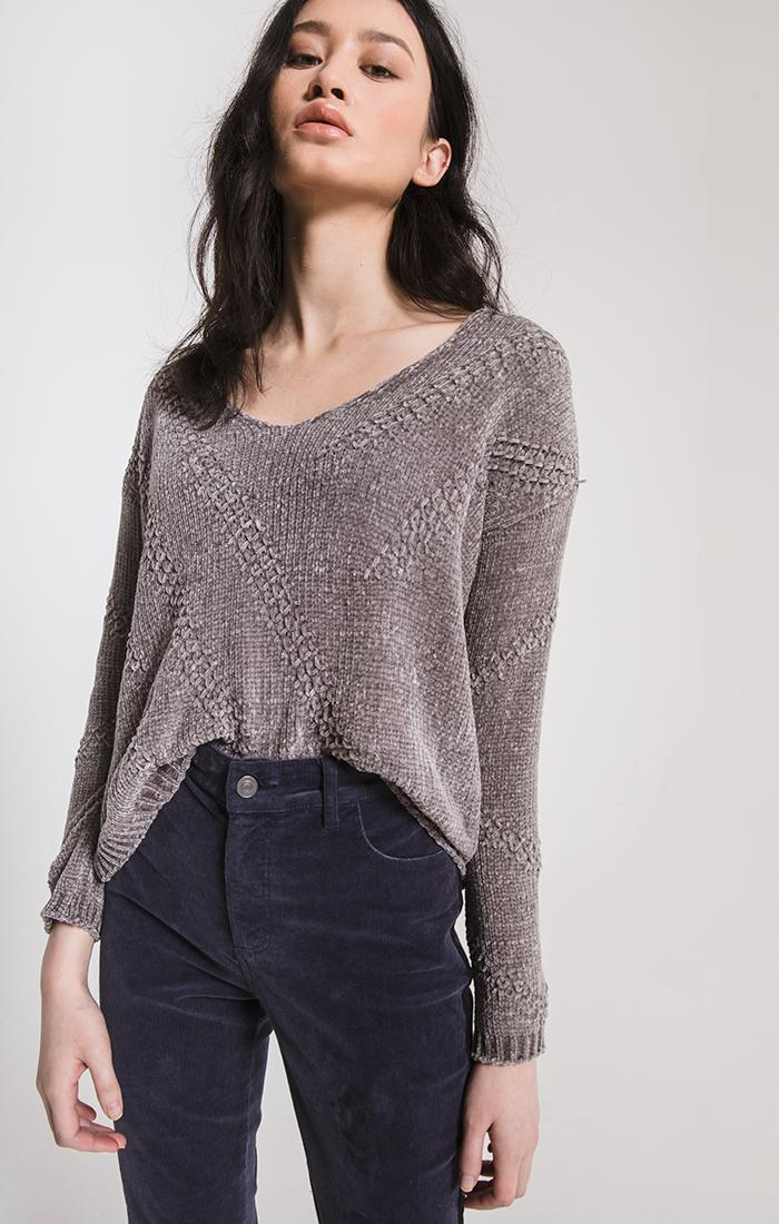 Sweaters Bococa Chenille Sweater By Rag Poets Steeple Grey