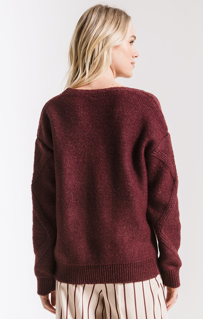 Sweaters Williamsburg Knit Sweater By Rag Poets Plum Wine