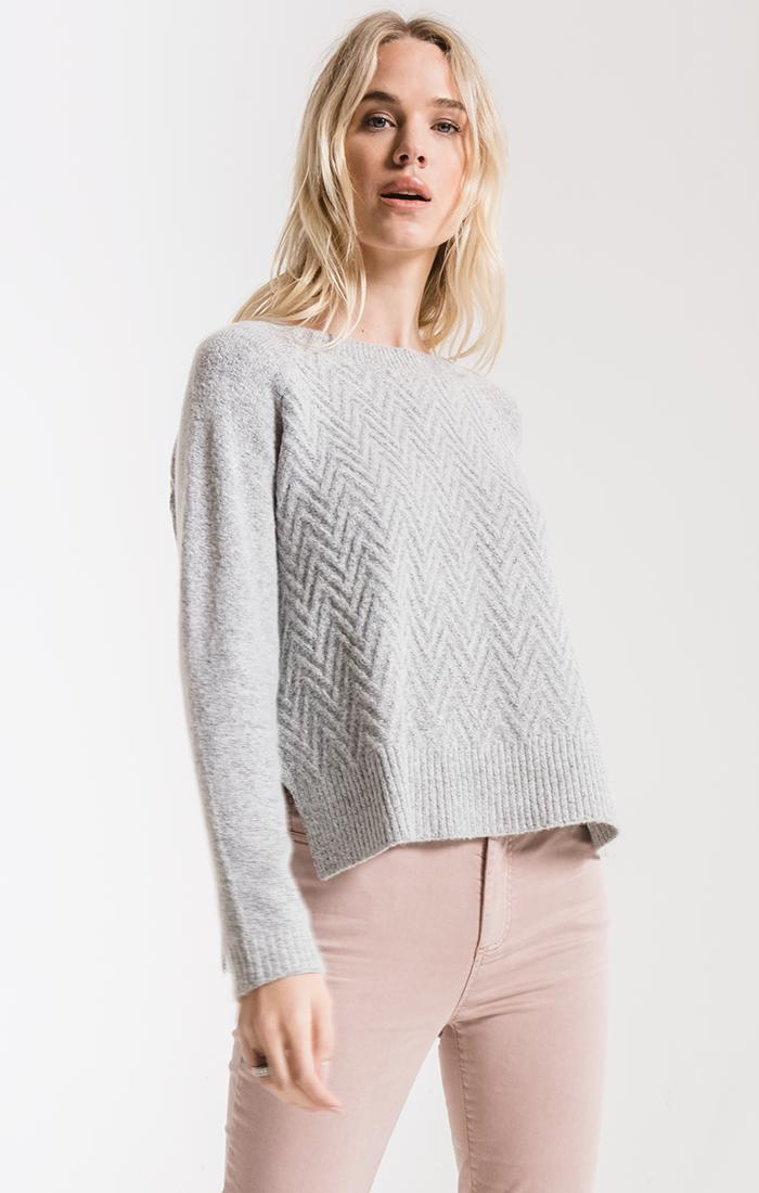 Sweaters Prospect Park Chevron Sweater By Rag Poets Light Heather Grey