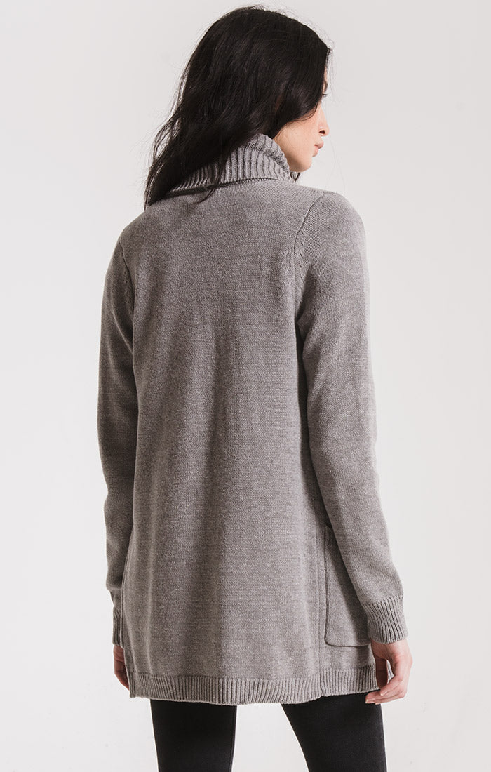 Sweaters Waterfront Ribbed Cardigan By Rag Poets Light Heather Grey