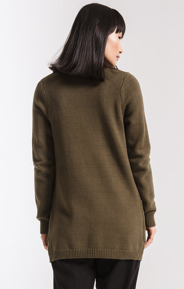 Sweaters Waterfront Ribbed Cardigan By Rag Poets Olive Night