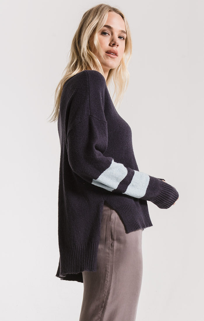 Sweaters Wyckoff Striped Sleeve Sweater By Rag Poets Graphite