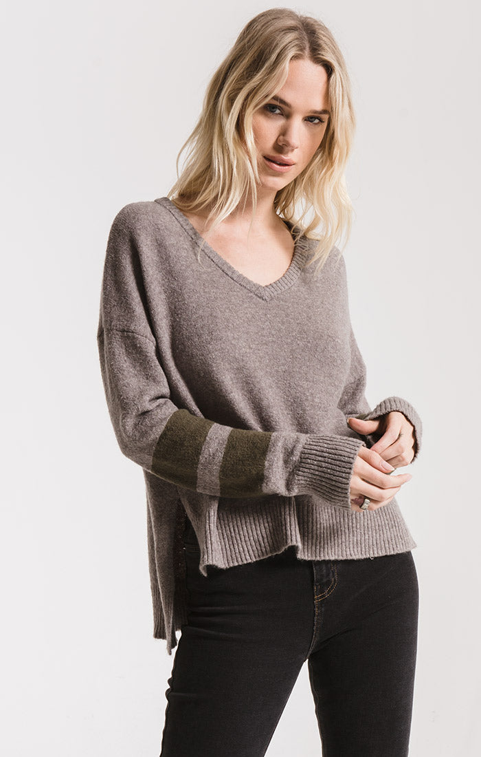 Sweaters Wyckoff Striped Sleeve Sweater By Rag Poets Light Heather Grey