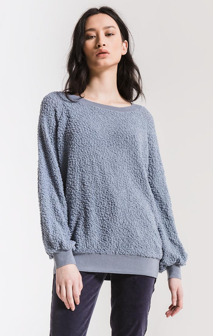 Tops Adams Textured Sweater By Rag Poets Dusty Blue