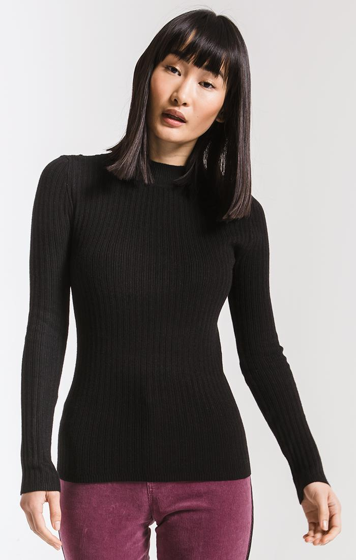 Sweaters Linden Mock Neck Sweater By Rag Poets Black