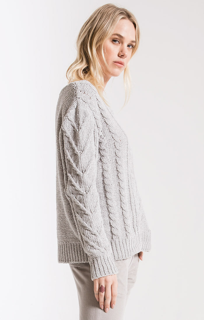 Sweaters Van Brunt Chenille Sweater By Rag Poets High rise Grey
