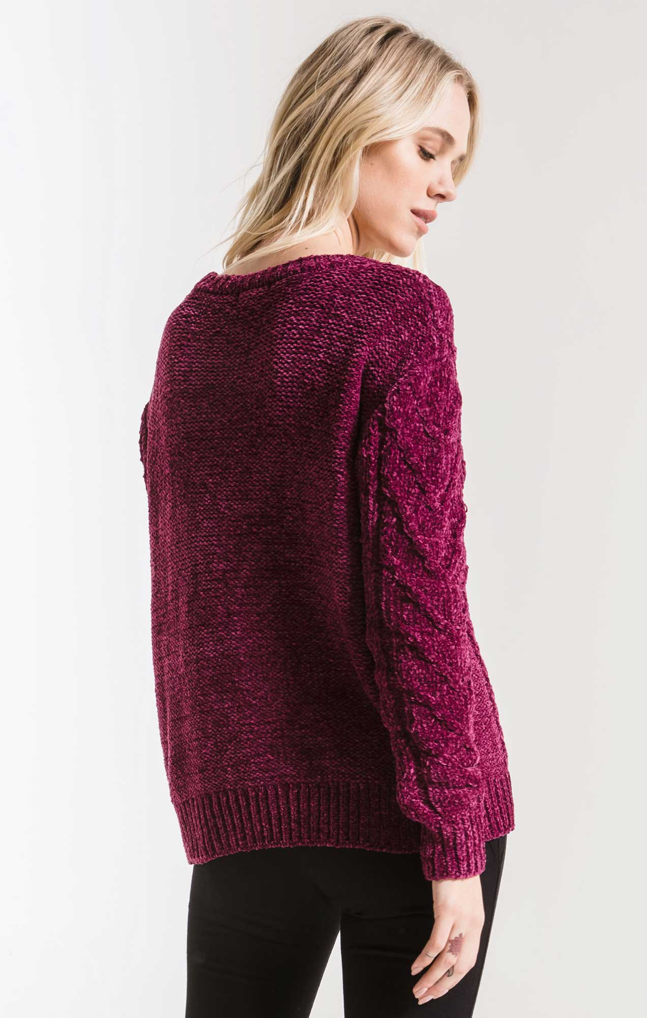 Sweaters Van Brunt Chenille Sweater By Rag Poets Purple Potion
