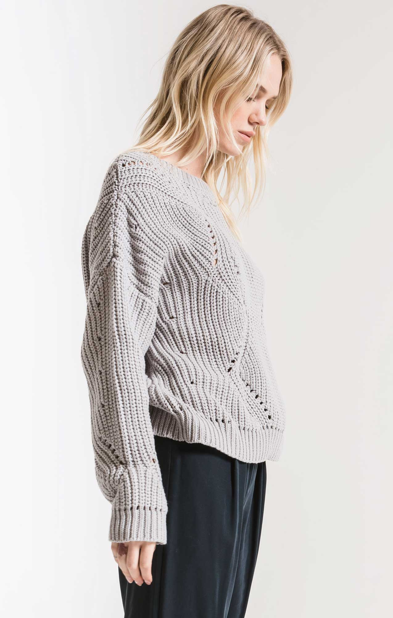 Sweaters Butler Textured Knit Sweater By Rag Poets High rise Grey