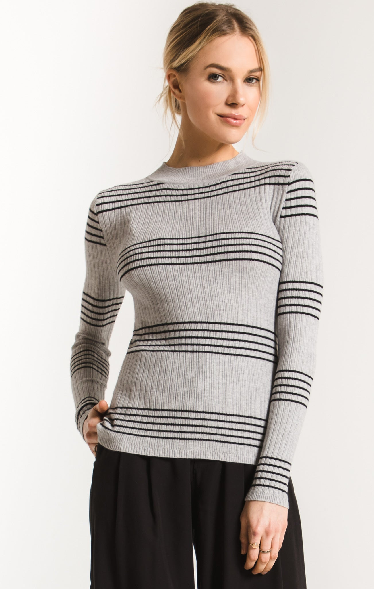 Sweaters Linden Stripe Mock Neck Sweater By Rag Poets Heather Grey